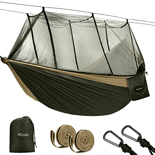HCcolo Double Camping Hammock with Mosquito Net, 10ft Hammock Tree Straps & Carabiners, Lightweight Nylon Parachute Hammocks for Camping, Travel, Beach, Hiking, Backyard(Hold Up to 440lbs) (Green)
