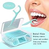 Bathmos Dental Flossers 100 Pcs Tooth Picks Flosser Sticks Dental Floss Picks Teeth Cleaning Flossers Mint Interdental Brush Flat Dental Floss Toothpick Teeth Stick