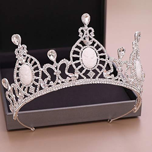 ZENWEN Bridal Crown Golden Pearl Crown Wedding Headwear 2019 European and American Crown Queen Crown Headband Bridal Headdress (Silver) -