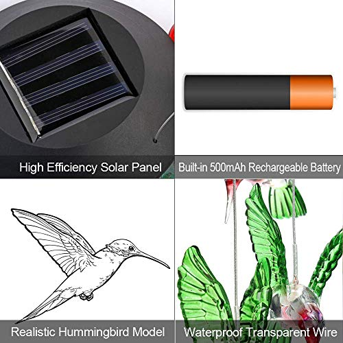 ZOUTOG Solar String Lights, Color Changing LED Mobile Hummingbird Wind Chimes, Waterproof Outdoor Solar Lights for Home/Yard/Patio/Garden by ZOUTOG (Image #3)