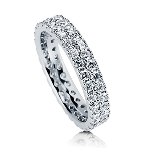 BERRICLE Rhodium Plated Sterling Silver Cubic Zirconia CZ Anniversary Eternity Band Ring Size 4