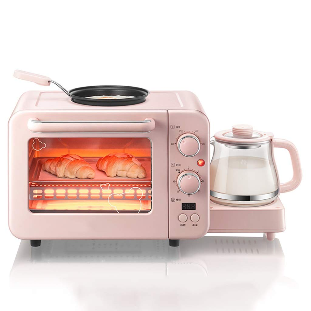 Toaster 3 in 1 Breakfast Maker Station, Multifunction Breakfast Machine with Mini Toaster Electric Oven, Electric Kettle, Frying Pan, For Bread Pizza Egg Maker - 1400W - Pink