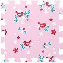 Children's Pink Foam Play Mats - 9 Soft Interlocking Floor Mats with Bird Pattern for Children and Babies