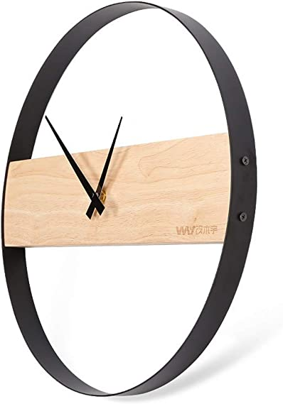 SHISEDECO Wood Wall Clock,Modern Creative Round Non-Ticking Clock Battery Operated,for Office/Home/Living Room/Kitchen Full Range Available 16 inch ash
