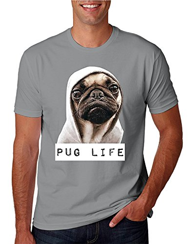 Life Pug (Hot Ass Tees Adult Unisex Pug Life Funny Thug Life T-Shirt Sports Grey X-Large)