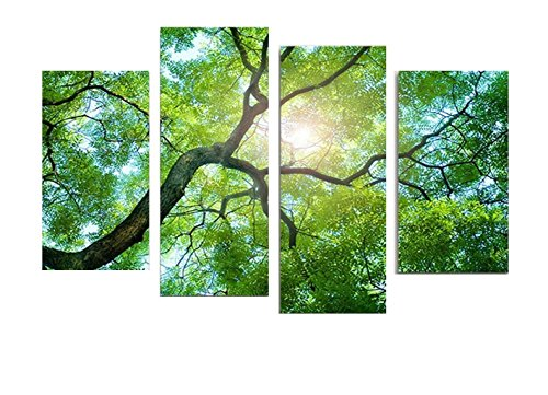 4-panels-modern-artwork-green-leaf-tree-to-skyline-in-sumer-art-painting-prints-on-canvas-wall-art-d