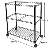 Bonnlo Premium 2-Tier Metal Rolling File Cart for Letter Size and Legal Size Folder Mesh Organizer Cart with 4 Rolling Wheels Black 23.6 x 12.6 x 27.6 Inches L x W x H