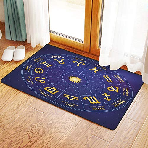 Non-Slip Mat Microfiber Bathroom Rug Shower Mat, Astrology,Horoscope Zodiac Signs with Birth Dates in Circle wi, Ultra Soft and Water Absorbent Bath Rug,Machine Wash/Dry 24x 39 inches (Horoscope By Date Of Birth Time And Place)