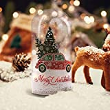 MJ PREMIER Christmas Musical Lighted Snowing Dome Shape Ornament Gift with Remote, Battery Operated Clear Glass Cloche Decoration with Red Car Decal for Home Holiday Decor Party Table Centerpieces