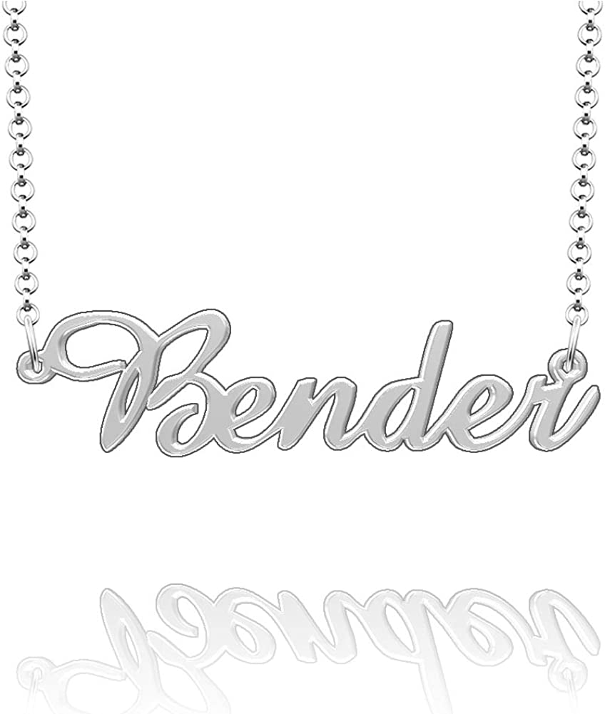 CLY Jewelry Personalized Last Name Necklace Custom Sterling Silver Bender Plate Customized Gift for Family