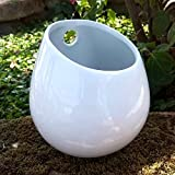 4 Inch White Pot Ceramic Planter, Wall Mountable Vase, Hanging Succulent Pot, Decorative Ceramic Flower Planter for Indoor Wall Decoration
