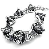 Best Adisaer Mens Bracelets - Adisaer Womens Mens Stainless Steel Bracelets 3D Wolf Review