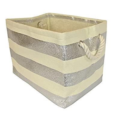 DII Woven Paper Textured Storage Basket, Collapsible & Convenient For Office, Bedroom, Closet, Toys, Laundry - Large, Silver Stripe