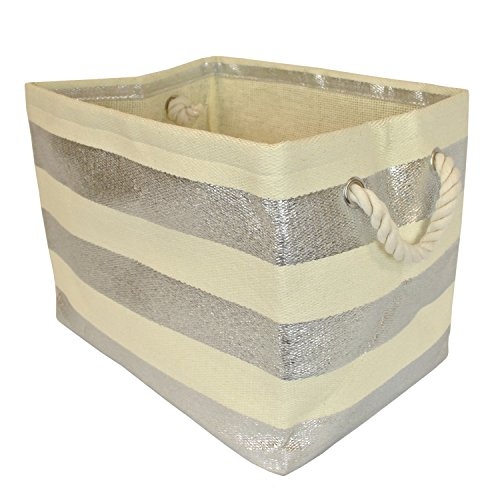 "DII Woven Paper Storage Basket or Bin, Collapsible & Convenient Home Organization Solution for Office, Bedroom, Closet, Toys, & Laundry (Medium - 15x10x12""), Silver Rugby Stripe"