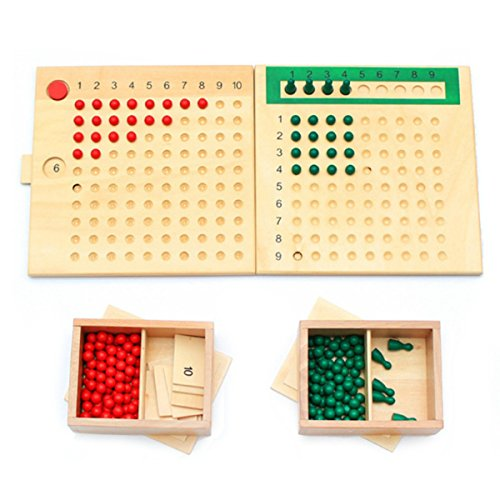 Montessori Mathematics Educational Wooden Toy Multiplication and Division Bead Board Red Green Beads Early Childhood (Beadboard Range Hood)