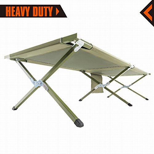 KingCamp Camping Cot Military Style OVERSIZED Heavy Duty Folding Bed Anodized Steel Frame with Washable Mildew Resistant Polyester Fabric, Support 300 lbs Carry Bag Included
