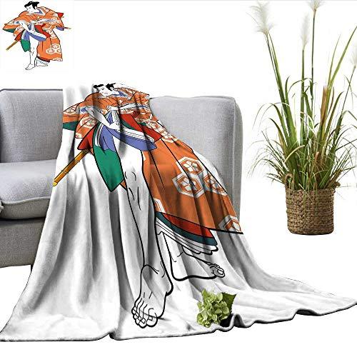 ScottDecor Kabuki Mask Decoration Full Size Blanket Kabuki Actor with Traditional Costume Historic Edo Era Drama Culture Charisma blanke Multicolor W60 xL70 -