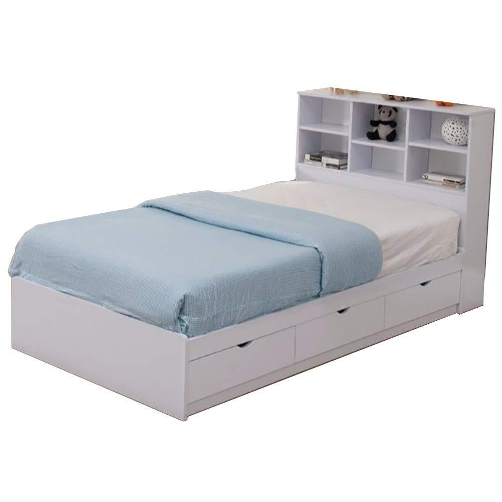 Benjara Benzara BedBenzara BM141870 Sophisticated Snow Finish Twin Size Chest Bed with 3 Drawers, White by Benjara