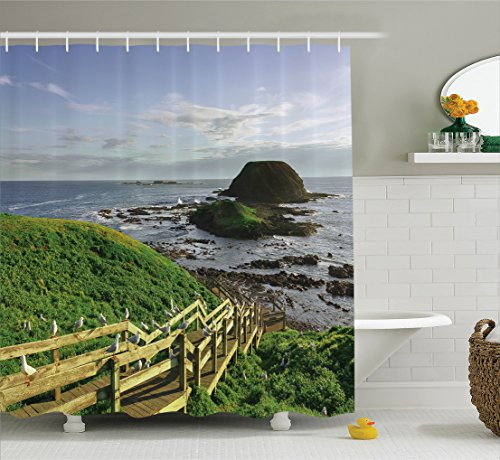 Phillips Collection Accessories - Ambesonne Seaside Decor Collection, Phillip Island Skyline Great Ocean Road Australia Stairs Seashore Countryside Scene Print, Polyester Fabric Bathroom Shower Curtain Set with Hooks, Green Khaki