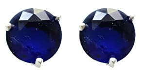 925 STERLING SILVER OVERLAY 6 MM ROUND BLUE SAPPHIRE GEMSTONE STUD EARRINGS BY TIBETAN SILVER