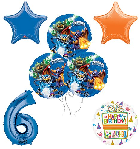 Skylanders 6th Birthday Party Supplies and Balloon Decoration Bouquet Kit -
