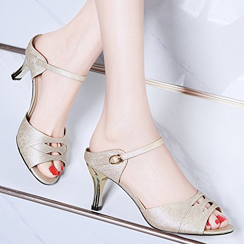Sandals Women's Shoes PU Spring High Heel for Casual Gold Silver Stylish/comfortable (Color : Beige, Size : EU37/UK4-4.5/CN37) Beige