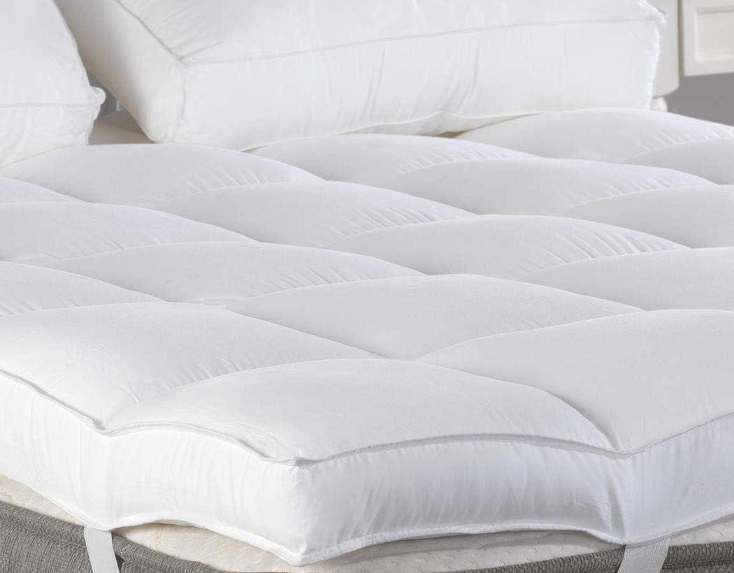 Amazon Com Queen Mattress Topper Plush Pillow Top Mattress Pad