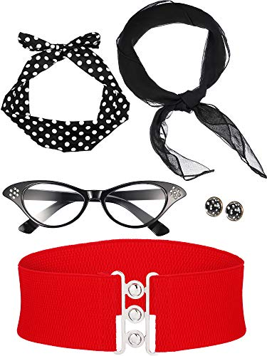 Zhanmai 50's Costume Scarf Polka Dot Headband Earring Cat Eye Glasses Waistband (Color Set 3)]()