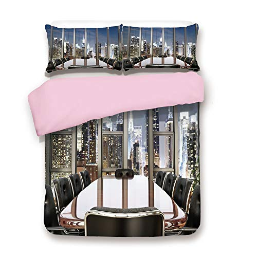 Pink Duvet Cover Set,Queen Size,Business Office Conference Room Table Chairs City View at Dusk Realistic,Decorative 3 Piece Bedding Set with 2 Pillow Sham,Best Gift For Girls Women,Grey Black ()