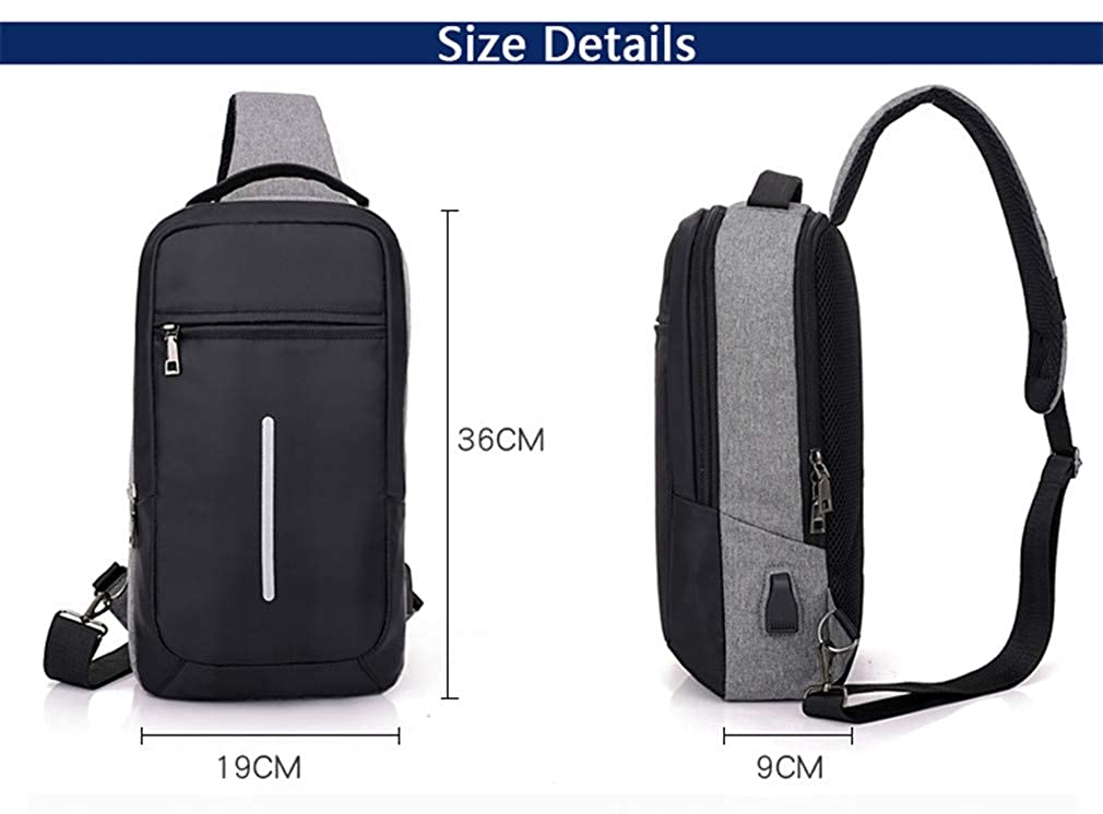 USB Design Chest Bag Waterproof Men Messenger Bag Sling Shoulder Bags Crossbody Travel Men Chest Pack Blue 19x36x9CM