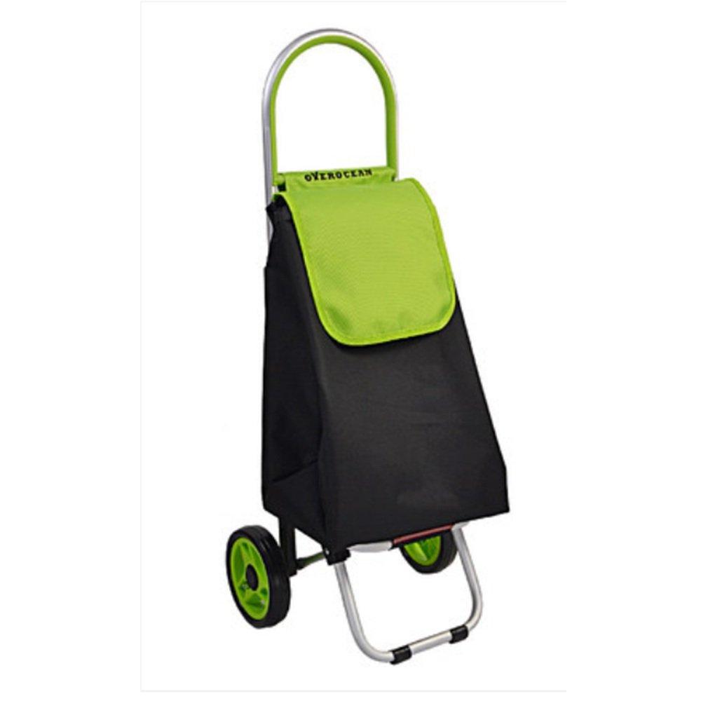 NAN ショッピングカート荷物トロリーポータブルショッピングカート折りたたみ可能なアルミフレームブルー、グリーン、オレンジ、ピンク トレーラー (色 : 緑) B07DZBC62Z 緑 緑