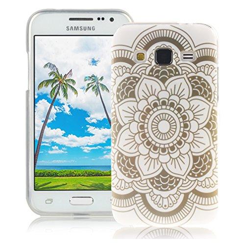 XiaoXiMi Funda Samsung Galaxy Core Prime SM-G360F Carcasa de Silicona Caucho Gel para Samsung Galaxy Core Prime SM-G360F Soft TPU Silicone Case Cover Funda Protectora Carcasa Blanda Caso Suave Flexibl Loto