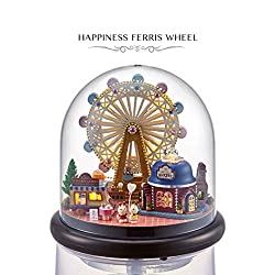 DIY Handmade Creative Room Miniature Dollhouse Glass House Kit Furniture Wooden Glass Ball Model Dollhouse Toy Gift For Kids 1:24 Scale Dollhouse (Happiness Ferris Wheel)