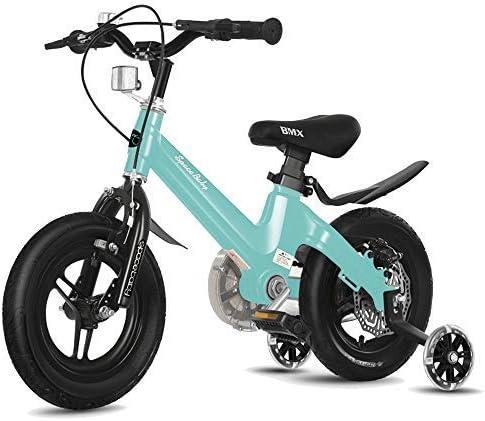 """YSA キッズバイクフリースタイルボーイズガールズガールズキッズチルドレンチャイルドバイク自転車2色、12""""、14""""スタビライザー、ウォーターボトル、ホルダー自転車付き"""
