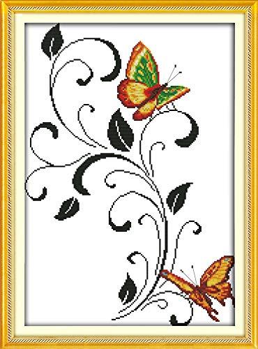 Free Butterfly Cross Stitch Patterns - Zamtac Animal Style Two Butterflies Painting Cross Stitch Butterfly Free Patterns Kits to Printing 14ct and 11ct Fabric - (Cross Stitch Fabric CT Number: 11CT Stamped Product)