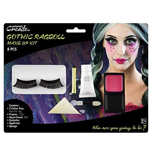 Adults Ladies Gothic Ragdoll Broken Doll Make Up Kit With Eyelashes Face Paint Halloween Fancy Dress Costume Outfit Accessory