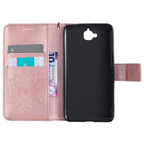 SRY-Conjuntos de teléfonos móviles de Huawei Para Huawei Disfrute de Changxiang 5 caso, con cordón, ranura para tarjetas, soporte, hebilla magnética Sun Flower Flat Open Phone Shell Proteja completame Rose Gold