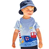 Moonker Cute Toddler Infant Baby Boys Girls Summer T Shirts Cartoon Print Casual Tops (White, 5-6...