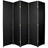 5 panel divider - Oriental Furniture 6 ft. Tall Woven Fiber Room Divider - 5 Panel - Black