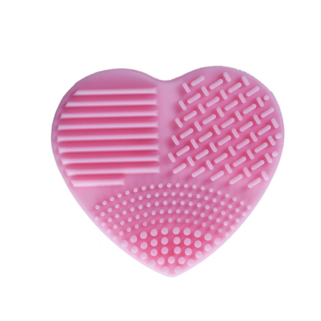 Naladoo 1Pc Silicone Heart Shape Open type Makeup Brush Cleaner Cosmetic Cleaning Tool Washing Brush Practical Cleaning Tools Easy to Use (Hot Pink) Beauty Tool