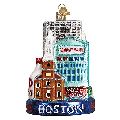 Old World Christmas Boston City Glass Blown Ornament (Christmas Red Sox Ornament)