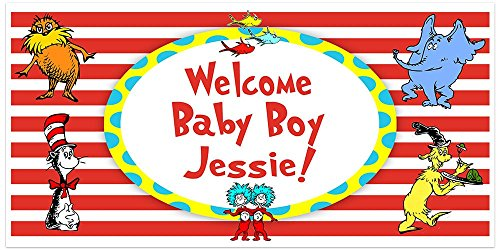(Dr. Seuss Cat in the Hat Baby Shower Banner Personalized Party Backdrop Decoration)