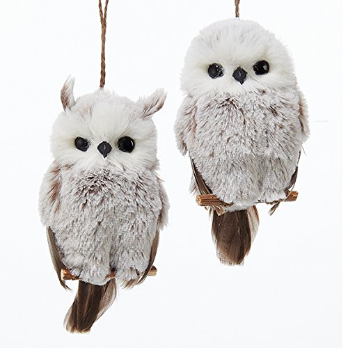 Kurt Adler 1 Set 2 Assorted Brown And White Owl Ornaments