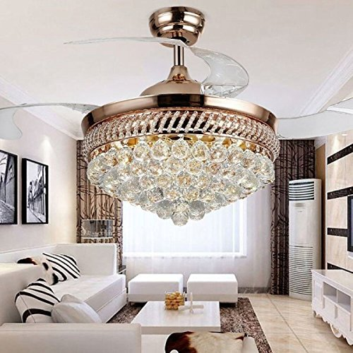 RS Lighting Unique Ceiling Fans K9 Crystal European Luxury Retractable Ceiling Fan Chandelier for Living Bed Restaurant Room Villa-Golden by RS Lighting (Image #1)
