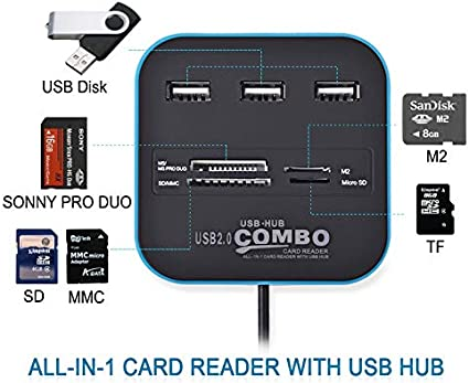 Black JIN 2 in 1 USB 2.0 M2 TF//SD//MMC//MS//MS PRO Duo Card Reader /& 3-Port HUB Color : Blue