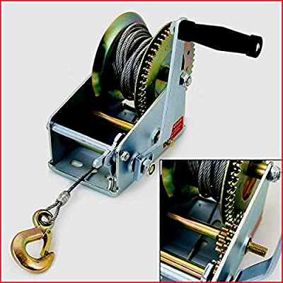 Winch Hand Crank Manual RV Trailer Heavy Duty 2500LB Boat Hand Heavy Gauge Automotive Security High Performance Tools - House Deals