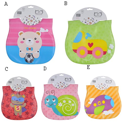 Sunbona Baby Bibs Boys Girls Cartoon Waterproof Feeding Bibs Saliva Towel for Infants and Toddlers ()