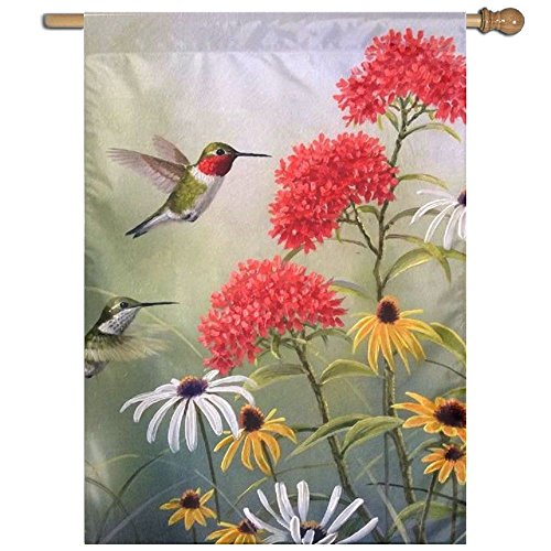 QIZHI Hummingbird Stylish Yard House Garden Flags Demonstrat