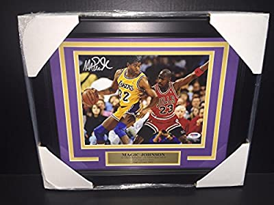 Magic Johnson Signed Picture - Vs Michael Jordan Psa 8x10 Framed Authentic - Autographed NBA Photos