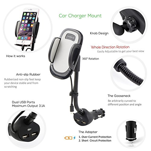 AUOPLUS Cigarette Lighter Phone Holder Car Mount Charger 3.1A Dual USB Ports with Built-in Charging Cord for iPhone by AUOPLUS (Image #3)